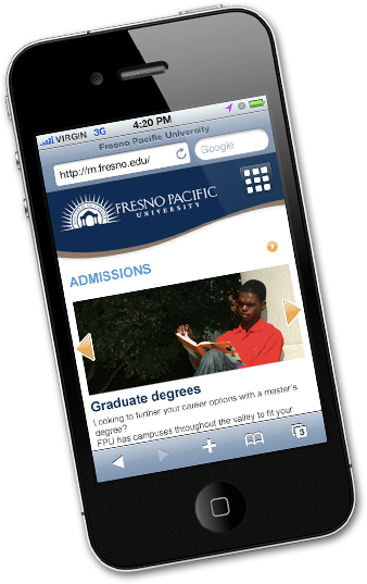 Homepage of FPU mobile site